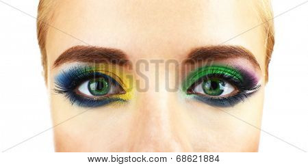Beautiful eyes with bright make-up, close up