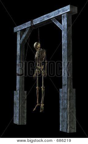 Hängende Skelett auf schwarz