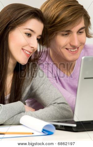 Couple studying