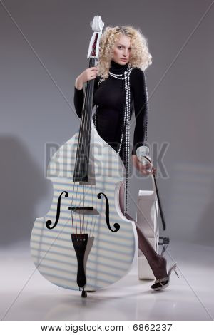 Young Woman With Contrabass