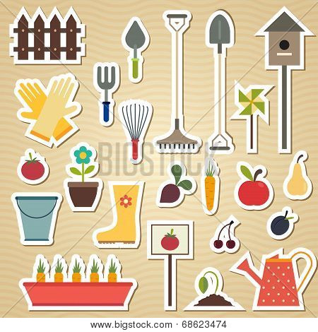 Garden and gardening tools icon set on a light wavy background