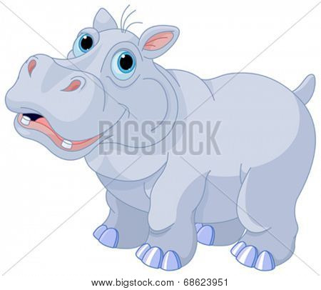 Illustration of very cute hippo