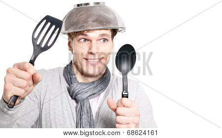 Young Man Overwhelmed With Kitchen Work - Isolated On White Background..