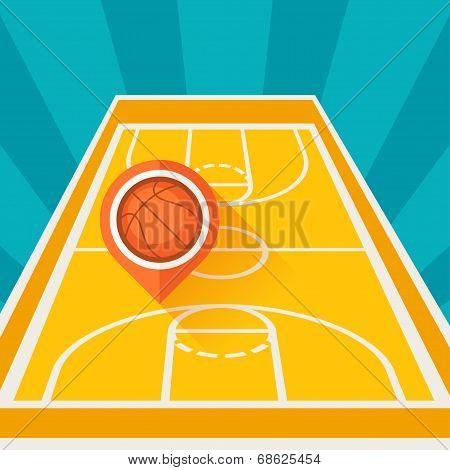 Sports background with basketball court and marker ball.