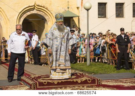 TIKHVIN, RUSSIA - JULY 9, 2014: Bishop Tikhvin and Lodeinopolskiy Mstislav celebrate Orthodox divine Liturgy on occasion celebrations of 10th anniversary of return of Tikhvin icon of the Mother of God