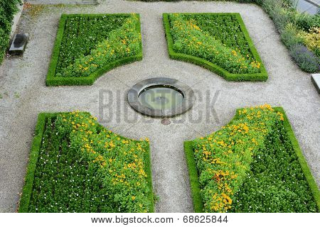 LAUSANNE, SWITZERLAND - JULY 7, 2014: Gardens at the Cathedral of Notre Dame of Lausanne. The church belongs to the Evangelical Reformed Church of the Canton of Vaud.