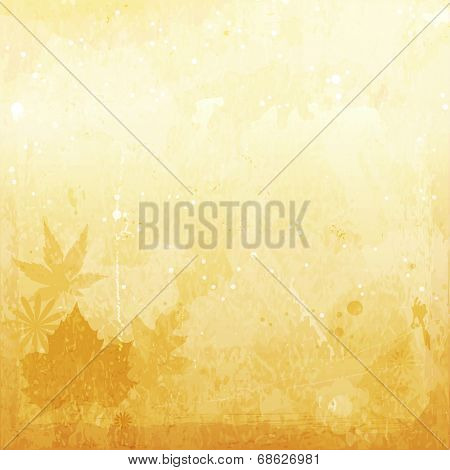 Abstract textured background with stains and scratches for an aged feeling. Brown and beige colors and faintly overlayed leaves and flowers make it a perfect autumn backdrop.