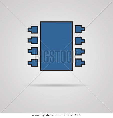 Electronic chip. Single flat color icon. Vector.