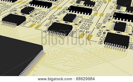 Pcb Yellow With Elements