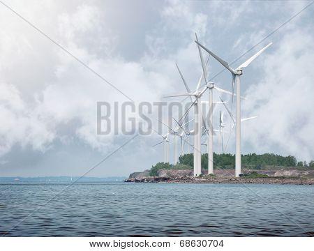 Alternative Energy Wind Turbines On Water