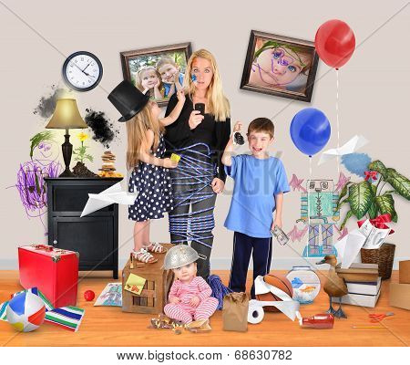 Stressed Mother With Wild Children In Messy House