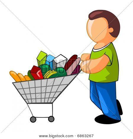 homem com carrinho de compras completo