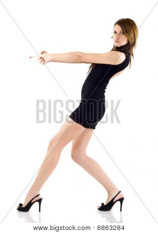 Seminude Girl Aiming  With Two Hands