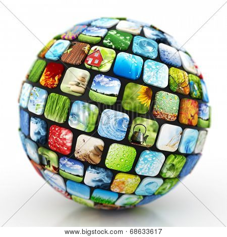 Sphere of colorful images