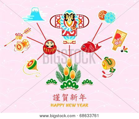 Postcard with Japanese New Year symbols as wish tree