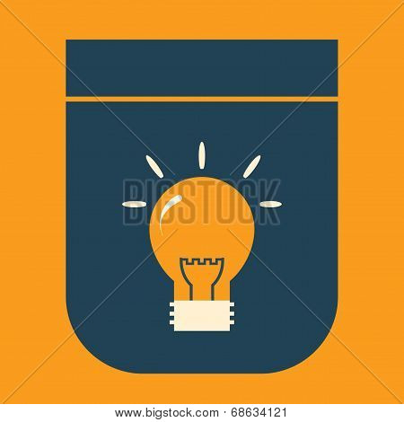 Icon glowing light bulb on a simple shield