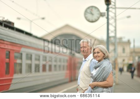 Couple at train station