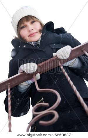 Girl At The Balcony In Winter Day