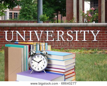 Stack Of Book In The Front Of University