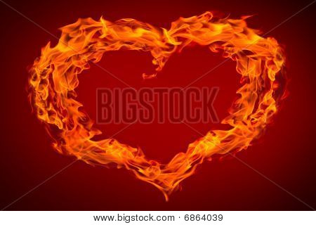 Heart Fire Flame On Red Background
