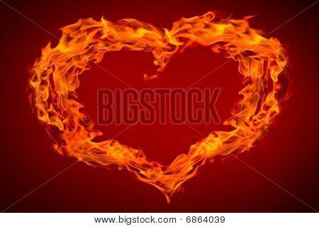Llama de fuego de corazón sobre fondo rojo