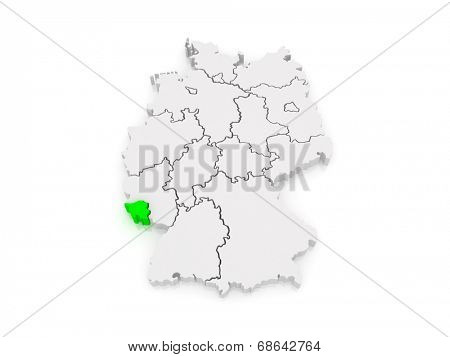 Map of Saarland. Germany. 3d