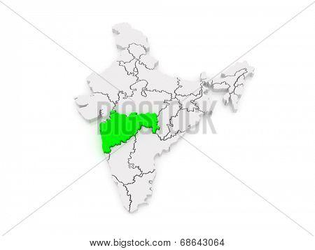 Map of Maharashtra. India. 3d