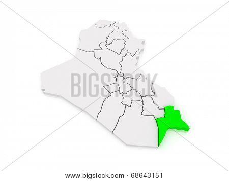 Map of Basra. Iraq. 3d