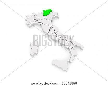 Map of Trentino - Alto Adige. Italy. 3d