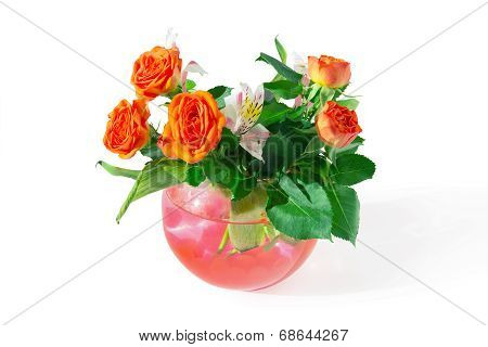 Roses And Tiger Lilies In A Vase