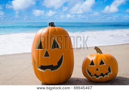 Halloween Pumpkins On The Beach