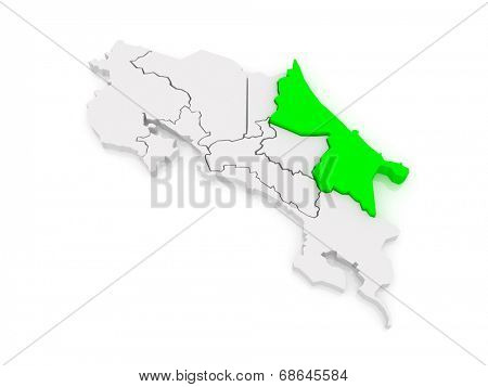 Map of Limon. Costa Rica. 3d