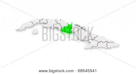 Map of Sancti Spiritus. Cuba. 3d