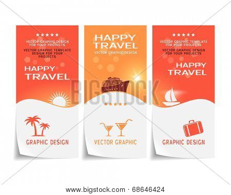 Travel banner, poster, sticker, flyer, ticket design. Vector illustration