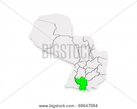 Map of Misiones. Paraguay. 3d