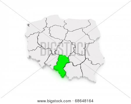 Map of Upper Silesia. Poland. 3d