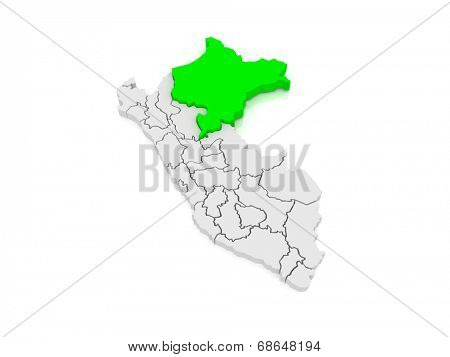Map of Loreto. Peru. 3d