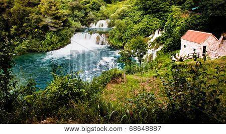 Beautiful long exposure panorama of waterfalls of the Krka river in Krka national park in Croatia