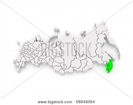 Map of the Russian Federation. Primorsky Krai. 3d