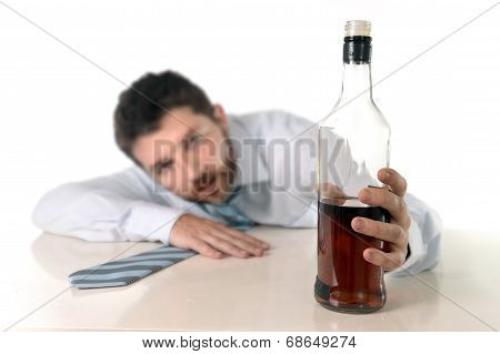 Drunk Business Man Wasted And Whiskey Bottle In Alcoholism