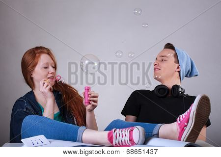 Naughty Teenagers Let Bubbles At School