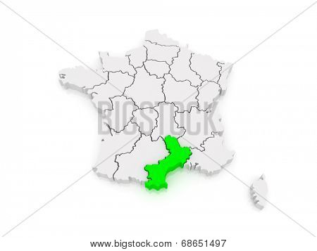 Map of Languedoc - Roussillon. France. 3d