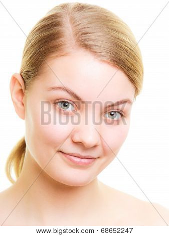 Portrait Blond Girl Without Makeup Isolated