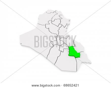 Map of Dhi Qar. Iraq. 3d