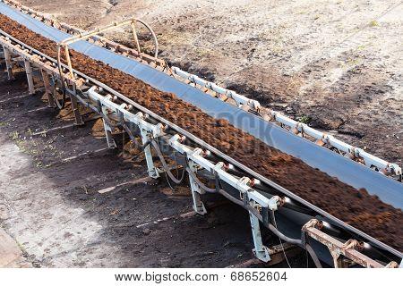 Opencast Brown Coal Mine. Belt Conveyor.