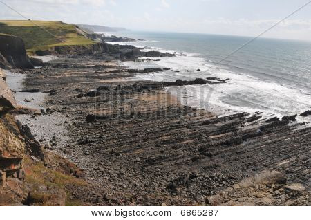 Rugged coastline and beaches of the north shore of Devon, UK