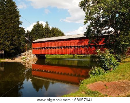 Sauck's Covered Bridge And Reflection
