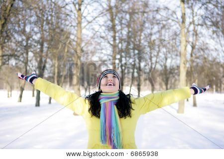 Happy girl in winter