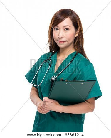 Medical doctor woman with clipboard