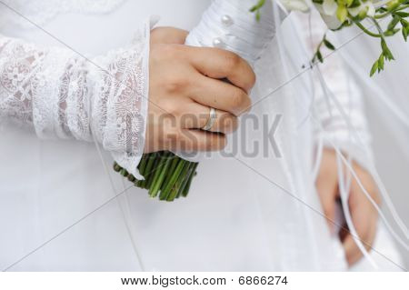 Golden Ring On Bride's Finger